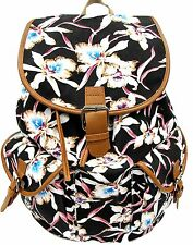 Women's Large Cotton Canvas Backpack Drawstring Padded Strap- WATER LILY FLOWER