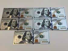 5 Set PCs The Best Quality Silver Foil Plated Us Collor Commenmorative Banknote