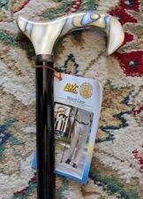 LADIES AQUA BLUE PEARL LUCITE DERBY HANDLE BLACK WOOD SHAFT WALKING CANE STICK