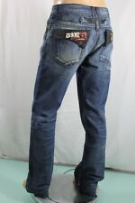 Robin's Jean New Men's Leather insert Straight Leg SZ 38 Blue USA