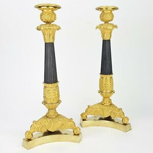 Empire Kerzenleuchter Bronze feuervergoldet Pendule candle sticks gold Thomire