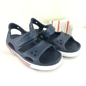 Crocs Crocband II Sandal Relaxed Fit Plastic Navy Blue White Childrens Size 11