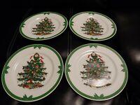 "VTG GEORGES BRIARD YULE TIDE 4 BREAD DESSERT PLATES CHRISTMAS TREE 7 1/2"""