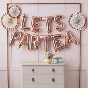 Afternoon Tea Party Balloon Bunting | Lets Partea Rose Gold Sign