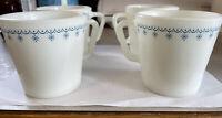 Vintage Lot 4 Pyrex Blue Snowflake Garland D-Handle Coffee Cup Mug