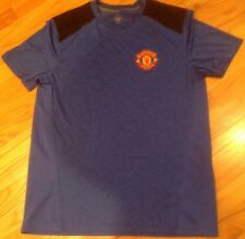MANCHESTER UNITED Short Sleeve Jersey Shirt Sz M Heather Blue Mesh Yoke & Back