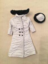 Vintage Barbie Clone Soft White Vinyl Maddie Mod Coat & Hat Black Fur
