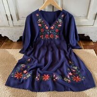 L Bohemian Floral Embroidered Navy Tunic Top Dress Cotton Womens Size LARGE