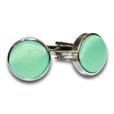 DQT Brass Fabric Inlay Cuff Links Plain Solid MINT Green Mens Cufflinks