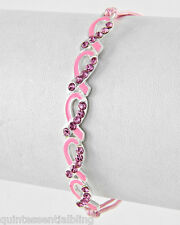 Boxed Pink Cord Pink Ribbon Crystal Charm Adjustable Bracelet for Cancer Charity