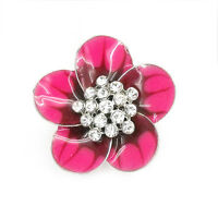 Flower Floral Cocktail Stretch Rings Clear Crystal Rhinestone Rose Enamel Party