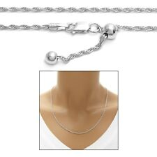 "925 Sterling Silver Rhodium 24"" Slide Adjustable Rope Chain Necklace 2mm"