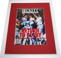 1996 Yankees autographed signed WS Champs cover framed Derek Jeter Joe Torre +5
