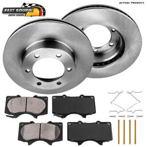 Front Brake Disc Rotors & Ceramic Pads For Toyota Sequoia Tundra 2WD 4WD 4X4