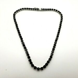 "New ""CD"" Sterling Silver 4mm Prong Set Black Spinel Tennis 18' In Chain Necklace"