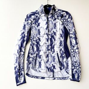 Lululemon Women's Sz 4 RARE Essential Jacket II Ink Blot White Deep Blue Indigo