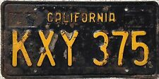 GENUINE 1963 American California Black USA License Number Plate KXY 375