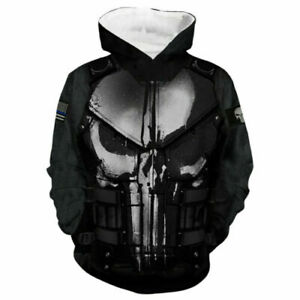 Unisex Punisher 3D Hoodie Pullover Cartoon Printed Coat Jackets Sweatshirts