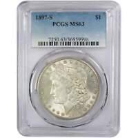 1897 S Morgan Dollar MS 63 PCGS 90% Silver $1 US Coin Collectible