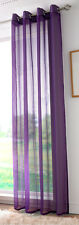 Plain Voile Curtain Panel Eyelet / Ring Top Various Colours