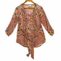 BKE Women's Beige Buckle Boho Sheer Paisley Floral Tie Blouse - Size Small