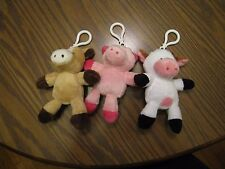 Circo Plush Keychain Stuffed Animal Toy Backpack Clip LOT OF 3- PIG COW HORSE