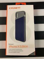 CYGNETT ELEMENT iPHONE X Case - Genuine Navy Blue Leather & Aluminum  *N*E*W*