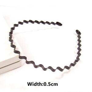 Mens Womens Black Sports Wave Hair Band Metal/Plastic Hairband Headband Headwear