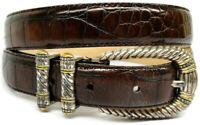sz M Fossil Western Brown Leather Belt Rolled Edge Silver Tone Buckle w 2 Loops