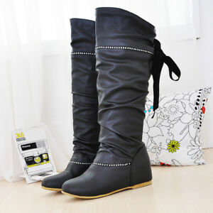 hot Women's Hidden Heels ROund toe PU Leather lace Up Slouch Knee-High Boots