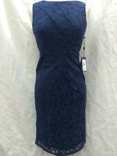 """ADRAINNA PAPELL LACE DRESS/NAVY/NEW WITH TAG/SIZE 8/RETAIL$140/ LENGTH 40""""/"""