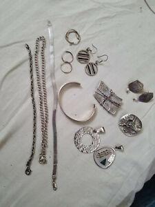 Vintage Sterling Silver lot, bracelets, chains, pendents