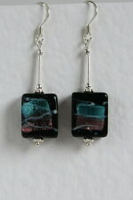UNUSUAL Retro STERLING SILVER 925 EARRINGS Black Pink Blue ART GLASS Handmade