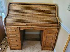 Antique Wood Rowlett Roll Top Desk