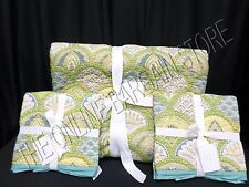 Pottery Barn Marcy Floral Scallop Wholecloth Bed Quilt Full Queen FQ 2 Shams ST