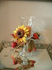Home Interiors Sunflower Votive Cup Sconce Candle Holder Diamond Glass 8 1/2�