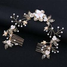 Women Bride Pearl Combs Clip Hair Stick Wedding Accessories Leaf Flower Combs