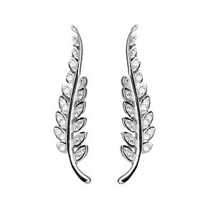 Sterling Silver Crystal Paved CZ Feather Leaf Cuff Climber Crawler Earrings