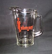 Vintage Slim Jim Pitcher Heavy Glass Advertising Barware Retro Kitchen