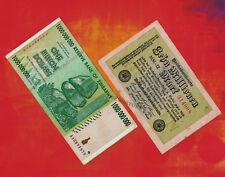 10 Million German Marks Banknote 1923 +1 Billion Zimbabwe Dollars Bank Note 2008