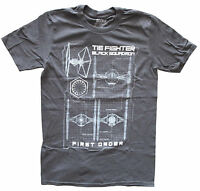 Star Wars TIE Figher Black Squadron Grey Men's Graphic T-Shirt New