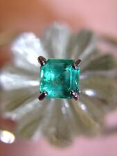 Unique! Vivid Glowing Colombian Emerald and Aquamarine 14K White Gold Ring 6.5