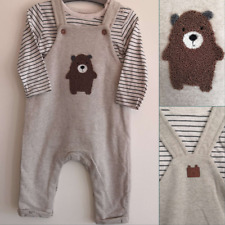 Mothercare Baby Boys Bear Dungarees and Bodysuit 2 Piece Set 0-18 Months NEW