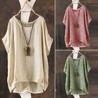 Summer Women's Loose Batwing Sleeve Baggy Tops Shirts Round Neck Blouse Q