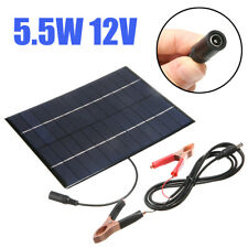 12V 5.5W Outdoor Car Camping Boat Battery Charger Solar Panel w/ Battery Clip