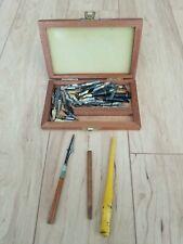 Vtg. Calligraphy Tools Box-Germany Drafting Pen Lot of 47 Nibs 3 Osmiroid Nibs