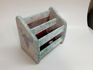 Vintage Napkin Letter Mail Holder Caddy Grapes Wood Country whitewash
