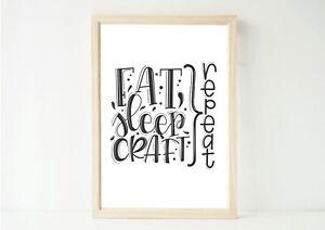 Eat, Sleep, Craft, Inspirational, Wall Art Home Decor, Poster Print