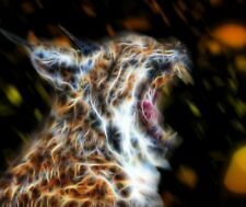 Wild bob cat fractal art cross stitch chart also available as A4 glossy print