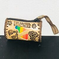 "Peruvian Handmade ""Coin Purse"" Set, embossed leather. (Traditional figures)"